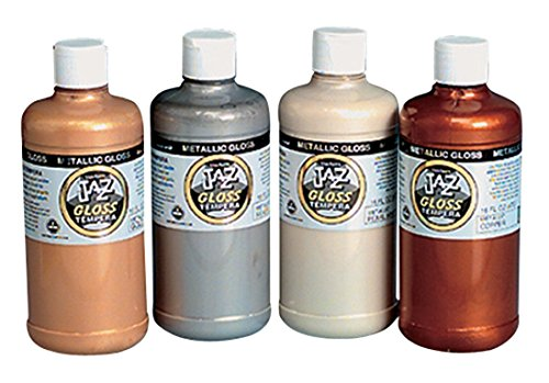 Van Aken Jazz Non-Toxic Water Soluble Sparkling Tempera Paint Set, 1 pt Squeeze Bottle, Assorted Metallic Gloss Color, Set of 4
