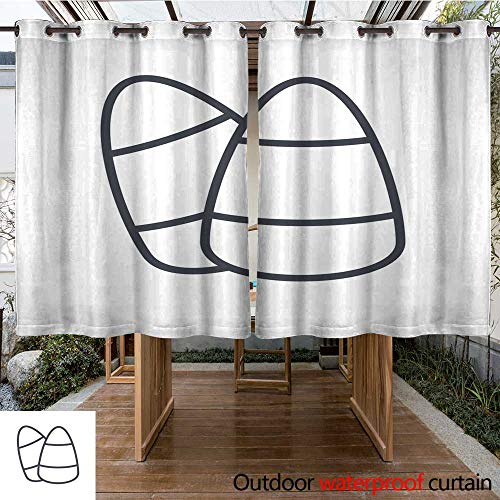 RenteriaDecor Outdoor Curtain for Patio Halloween Holiday Line Icon Corn Candy W55 x L72 ()