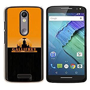Gallifrey- Metal de aluminio y de plástico duro Caja del teléfono - Negro - Motorola Droid Turbo 2 / Moto X Force