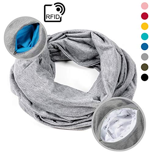 (READY + STEADY Travel Infinity Scarf with Zipper Pocket/Travel Accessories for Women and Men (Grey))