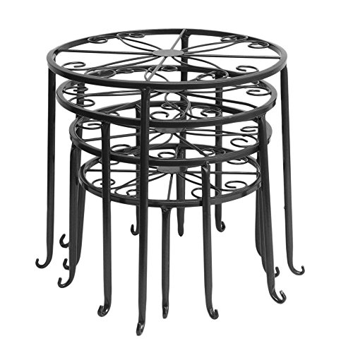 Aishn metal 4 in 1 potted plant stand floor flower pot rack round iron plant stands scroll - Flower pot stands metal ...