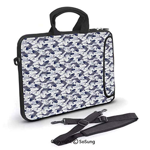 13 inch Laptop Case,Japanese Carp Koi with Wave Patterned Background Ancestral Animals Asian Culture Neoprene Laptop Shoulder Bag Sleeve Case with Handle and Carrying & External Side Pocket,for Netboo (Cute Asian Shoulder Bags)