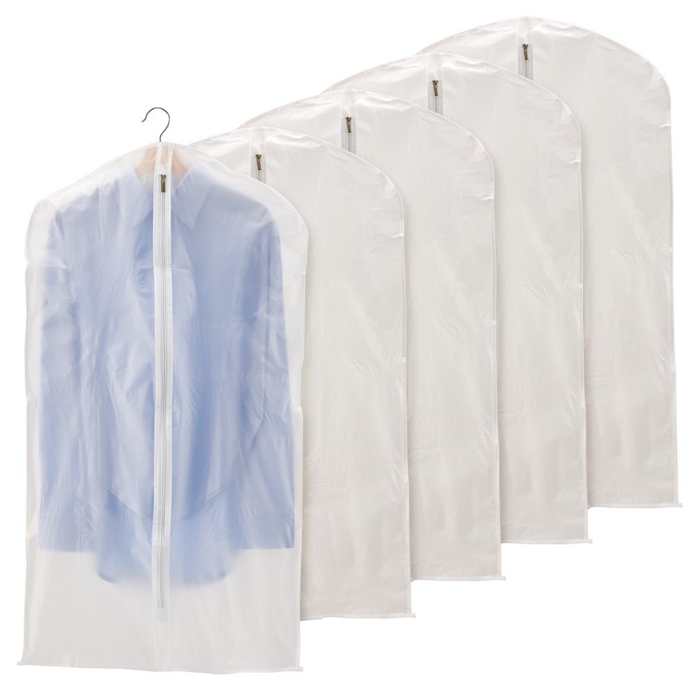 EZOWare 40 inch Garment Bag, Clear Foldable Breathable Garment Suit Shirt Dress Jacket Coat Dust Cover Travel Bag - Set of 5