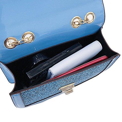 Cuadrado Bolso Mini Las De Pequeño Señoras Embrague Hombro Moda La Cruzado De Del Bolso Blue De Del Del Cuerpo Temperamento Brillo CSBqxwBHn