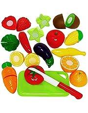 TONZE Frutas y Verduras Juguete para Cortar Cocina Juguete de Plástico Comida de Juguete para Cocinar Set de Alimentos rol Juego Corte Juguete para Niños Niñas 3+, 15 Piezas