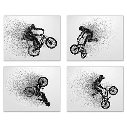 (Summit Designs BMX Bike Wall Art Prints - Set of 4 (8x10) Unframed Poster Photos - Sports Bedroom Kids)