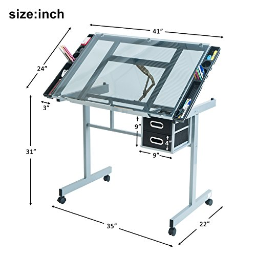 Harper Bright Designs Adjustable Drafting Table Drawing Desk with Tempered Glass Top, Two Drawers and Castors