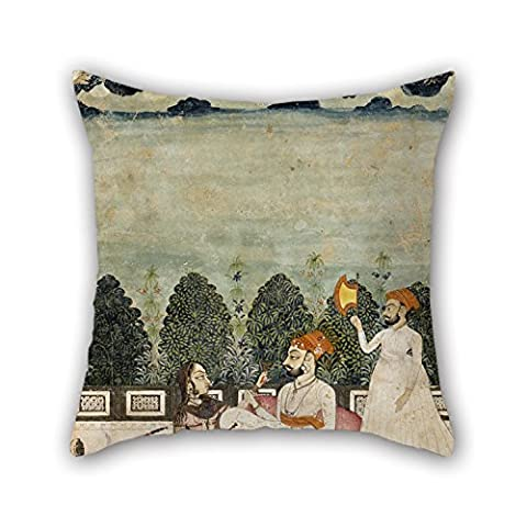Loveloveu 20 X 20 Inches / 50 By 50 Cm Oil Painting Unknown Indo-Persian - Untitled (Two Men And Woman On Terrace) Throw Pillow Covers,twice Sides Is Fit For Play Room,home Office,coffee (Gone Baby Gone Movie Poster)