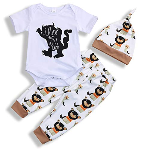 Newborn Baby Boy Clothes Monster Cartoon Letter Rompers Jumpsuit Tops Pants Clothes (White Short, 0-6 Months)