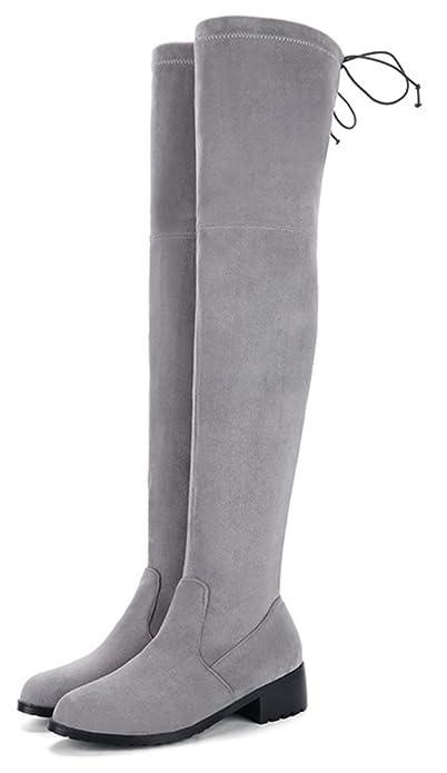 Aisun Damen Runde Zehen Blockabsatz Langschaft Schnürung Flach Overknee Ohne Verschluss Stiefel Grau 44 EU 36oWKJNk