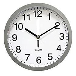 YUSOUND Non-ticking Quartz Home/Office Digital Decorative Plastic Wall Clock, 10/12/14 Inch(Silver-gray) (10 Inch)