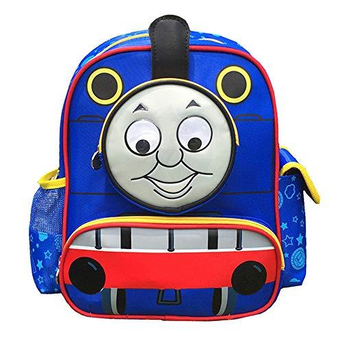 Toddler Kid's Backpack Waterproof Cartoon Thomas and His Friends Railway Kindergarten Child Book Bag Snack Nursery School Bag for Kids Boys Girls (Blue 2, M-11.014.7112.5 IN)