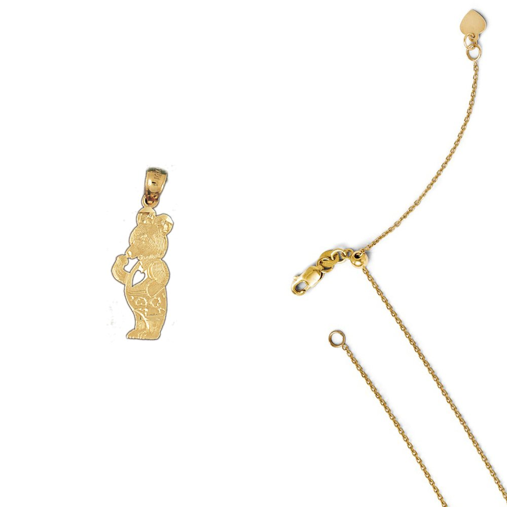 14K Yellow Gold Teddy Bear Pendant on an Adjustable 14K Yellow Gold Chain Necklace
