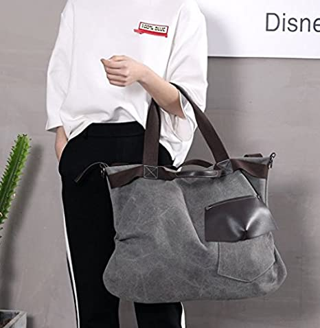 d3567f8647e2 Amazon.com  xiaoxiongmao 2017 Large Pocket Casual Women s Shoulder Cross  body Handbags Canvas Leather Bags canvas tote bag (style 2
