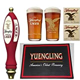Yuengling Lager Beer Tap Handle, 2 Lager Pint Glasses, 20 Pub Coasters & 1 Bar Spill Mat Set