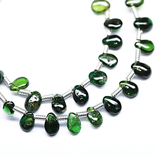 Chrome Green Diopside Smooth Pear Drop Gemstone Loose Earring Craft Beads Strand 8