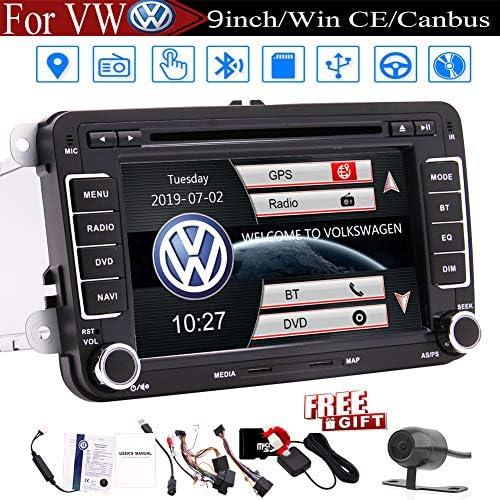 7 inch Car Radio Touch Screen Double Din Car Receiver Stereo Head Unit in Dash GPS Navigation for Volkswagen Bluetooth Car DVD CD Player VW Passat Golf MK5 Jetta Tiguan T5 Skoda Seat Backup Camera