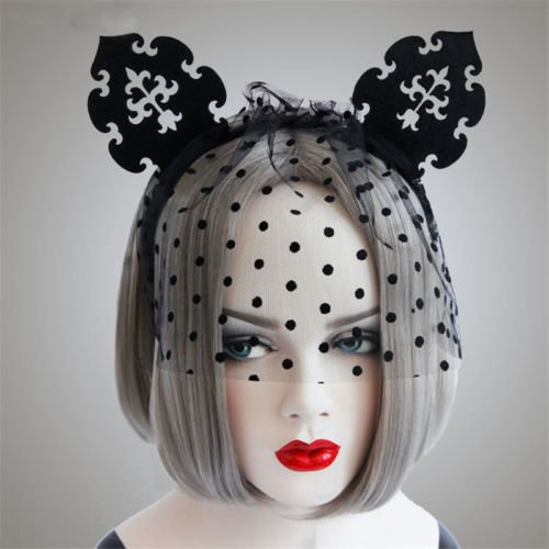 Head Costume Coke (NPLE--Cat Ears Veil Mask Headband Hair Band Hoop Sexy Costume Party Fancy)