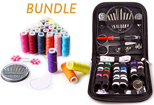 SEWING KIT and Sewing Set with 24-color Threads BUNDLE- for All-Purpose Sewing Repairs at Home & in the Office. Complete Sew Kit with Mixed Color Threads for Sewing Machine. Black & Multicolored (Sew Upholstery Machine)