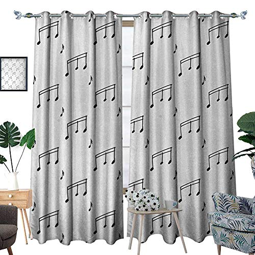 RenteriaDecor Music Window Curtain Fabric Musical Notes Theme Melody Sonata Singing Song Clef Tunes Hand Drawn Style Pattern Drapes for Living Room W72 x L96 Charcoal Grey