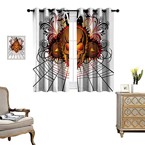Anyangeight Halloween Blackout Window Curtain Angry Skull Face on Bonfire Spirits of Other World Concept Bats Spider Web Design Customized Curtains W63 x L72 Multicolor -