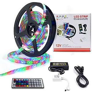 LED Strip Lights RGB TV Backlight 16.4ft 300 LEDs 5m Waterproof IP65 LED Strip Flexible Light with 44Key Remote & 12V Power Supply(3528 16.4ft 300LEDs RGB IP65 Kit) LETOUR