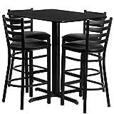 Dyersburg 5pcs Table Set Rectangular 24'' x 42'' Black Laminate, Black Barstool