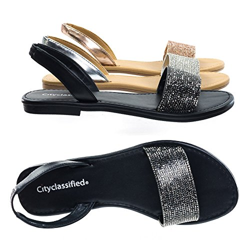 City Classified Rhinestone Crystal Embellished Flat Open Toe Summer Sandal w Sling Back Black 8.5 M US ()