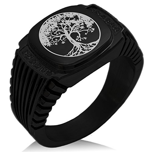 Tioneer Black IP Plated Stainless Steel Tree of Life Engraved Black Cubic Zirconia Ribbed Needle Stripe Pattern Biker Style Polished Ring, Size 10 (Grade Pattern Ribbed)