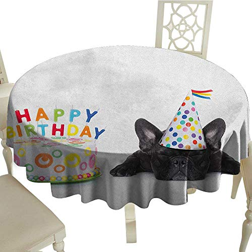 - BarronTextile Kids Birthday Dinning Tabletop DecorSleepy French Bulldog Party Cake with Candles Cone Hat Celebration Image Diameter 36