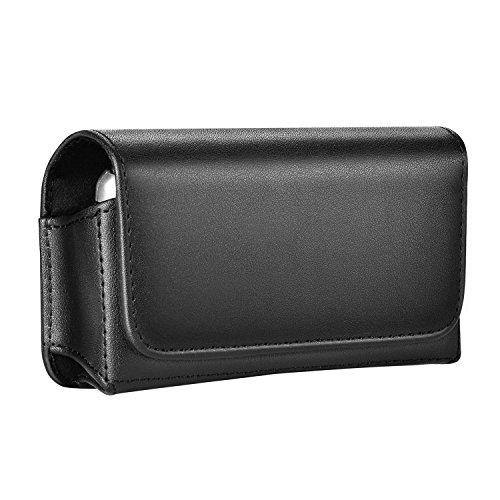 Gcepls Universal Small Holster Case with Belt Loop Belt Clip for Kyocera Dura XTP Flip Phone, LG Flip Phone, Samsung Flip Phone and More (Black) ()