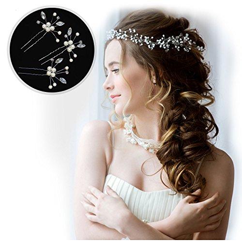 - HANDMADE HAIR ACCESSORIES FOR WEDDING + 3 BONUS FLOWER WEDDING HAIR PINS - WEDDING HAIR ACCESSORIES FOR BRIDES - BRIDAL HEADBAND FOR LONG OR SHORT HAIR - CRYSTAL PEARL SILVER HAIR VINE - HAIR JEWELRY