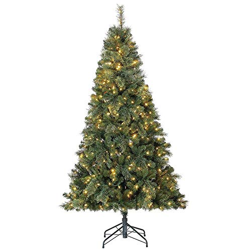 Home Heritage 7 Foot Cascade Cashmere Quick Set Christmas Tree with Changing White and Colorful LED Lights (9 Foot Christmas Tree With Changing Lights)