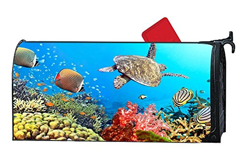 Fish Mailbox - Mailbox Covers and Wraps, Personalized Decorative Mail Wrap Covers for Standard Metal/Steel Mailboxes - Underwater Turtle Coral Fishes Ocean Reefs