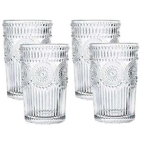Kingrol 4 Pack 12.5 Ounces Romantic Water Glasses, Premium Drinking Glasses Tumblers, Vintage Glassware Set for Juice…