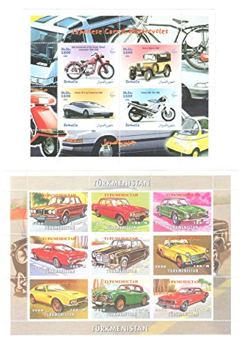 Stamps for collectors - Cars and Bikes stamps in collection - 2 mint and never mounted sheets of thematic stamps featuring classic cars and motorbikes. Ideal for stamp collecting. 13 mint condition stamps - never hinged.