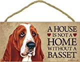 (SJT63903) A house is not a home without a Basset (Hound) wood sign plaque