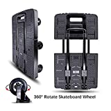 Folding Hand Truck, Wear-Resistant Noiseless 360°Rotate 7 Wheels 245KG/540LBS Capacity Extendable Large Base Adjustable Handle Portable Heavy Duty and Durable Trolley Dolly For Cargo Handling Shopping