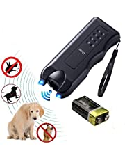 Volwco Handheld Dog Repellent & Trainer, Dual LED Light Ultrasonic Anti-Barking Device 3 in 1 Dog Deterrent Training Tool/Stop Barking - 100% Pet & Human Safe