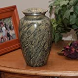Cremation Funeral Urn for Human Cremated Remains Ashes - The Jade Mist is made of solid aluminum with a unique and elegant design