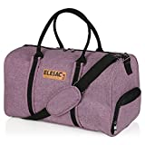 EleSac Canvas Style Duffel Bag for Men and Women with Shoe Compartment – Weekend Bag for Gym Overnight Baggage Carry On Hand Luggage and Short Trips, Travel Duffel Express Purple/Black