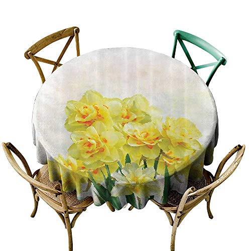 funkky Daffodil Decor Polyester Tablecloth Digital Watercolors Paint of Daffodils Bouquet Called Jonquils in England Lent Lily Easy Care D63 Yellow Green