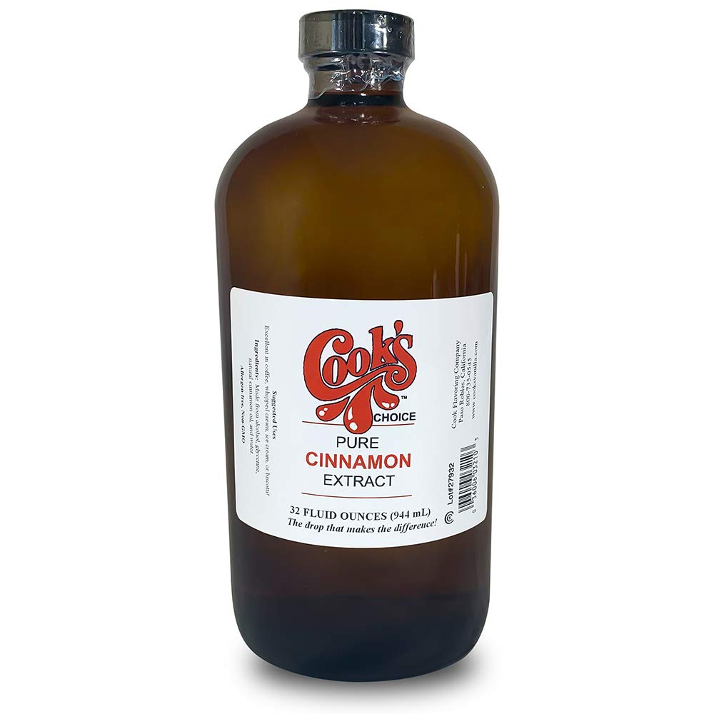 Cook's, Pure Cinnamon Extract, All Natural Premium Cinnamon Oil from Ceylon Bark, 32 oz by Cook's