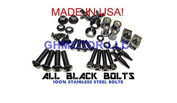 Black GHMotor-3014BX-bk GHMotor Complete Fairings Bolts Screws Fasteners Kit Set Made in USA for 1998 1999 2000 2001 KAWASAKI ZX9R ZX-9R