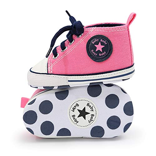 BiBeGoi Infant Baby Girls Boys Soft Sole Sneakers Shoes Star Canvas Denim Shoes Newborn First Walkers Crib Shoes High Top Booties ()
