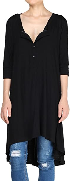 TALLA XXL. Vogstyle Mujer Media Manga Casual Tops Frente Botones Suelto Camiseta Vestidos LH005