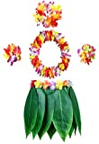 KEFAN Leaf Hula Skirt and Hawaiian Leis Set Grass Skirt with Artificial Hibiscus Flowers for Hula Costume Party (A)