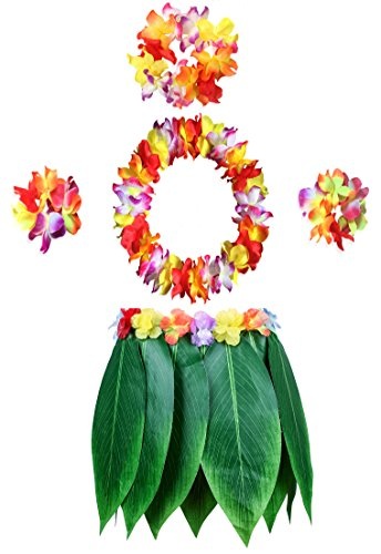 KEFAN Leaf Hula Skirt and Hawaiian Leis Set Grass Skirt with Artificial Hibiscus Flowers for Hula Costume Party (A) ()