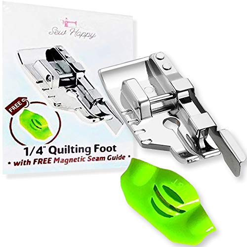 1/4 Quarter Inch Quilting Presser Foot with Free Magnetic Seam Guide - Fits All Singer, Brother, Babylock, Janome, Kenmore Low Shank Sewing Machines (and More!)