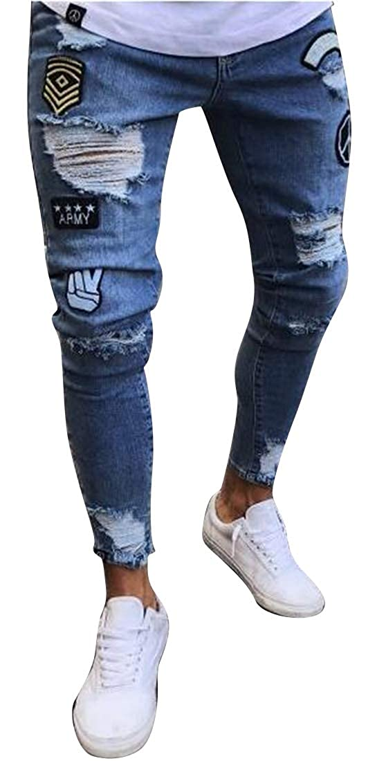 Jofemuho Mens Ripped Distressed Regular Fit Washed Casual Denim Jeans Pants